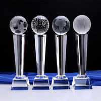 Sports Event Crystal Glass trophies and awards Craft Gift BIY Champions Cup Trophy replic Souvenir For Football Golf Basketball