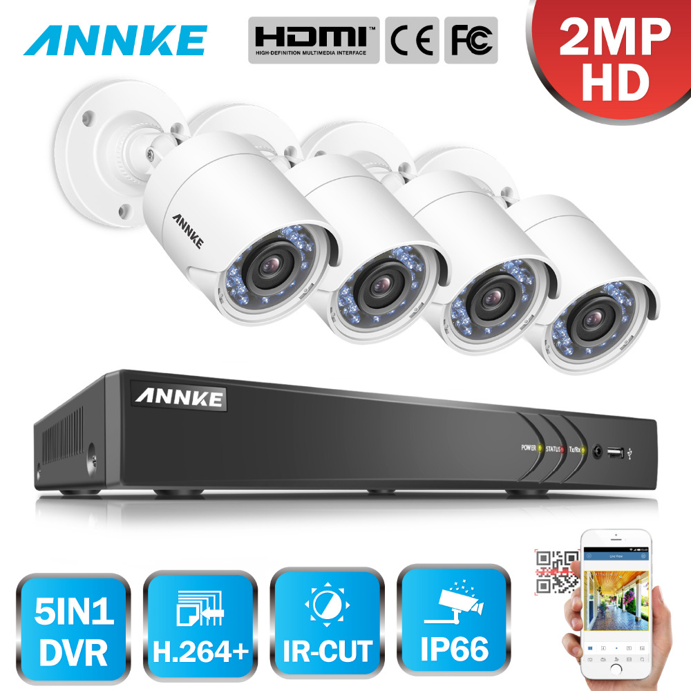 ANNKE 3MP 4CH HD TVI CVI AHD IP 5in1 DVR VCA 2MP HD Smart IR Day Night Vision Bullet CCTV Camera Video Security System 3D DNR free shipping english version ds 2ce16c0t irpf 1mp bullet turbo hd camera 20m ir switchable tvi ahd cvi cvbs true day night ip66