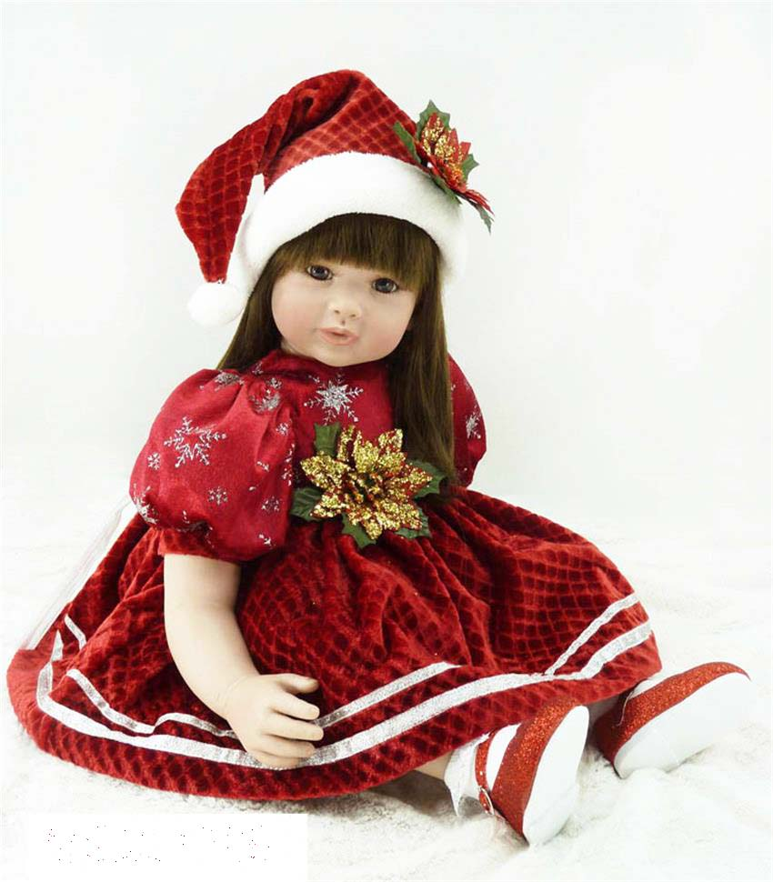 Pursue 24/ 60 cm Handmade Christmas Red Dress Reborn Babies Princess Toddler Girl Doll Toys for Children Girl Holiday Gift Doll hot newest 18 inch handmade vinyl doll bjd doll with dress beautiful princess doll toy for children christmas gift