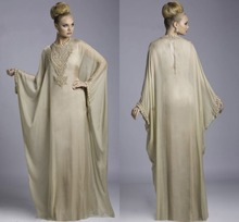 Transparent Chiffon 2015 New Arrival Button Embroidery A Line Dubai Moroccan Kaftan Abaya Jilbab Islamic Yellow Evening Dress