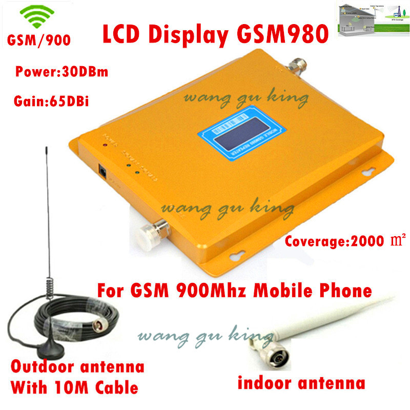 LCD Display 2G GSM 900 MHz 900mhz Mobile Phone Cell Phone Signal Booster Repeater Amplifier 65db 1000sq With Antenna