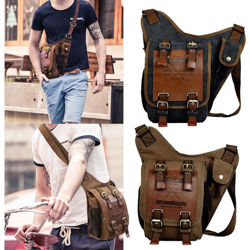 9f4e921a8e Retro Men s Vintage Canvas Shoulder Military Messenger Bag school Travel  Bags Chest Leather Patchwork Messenger Bag Satchel