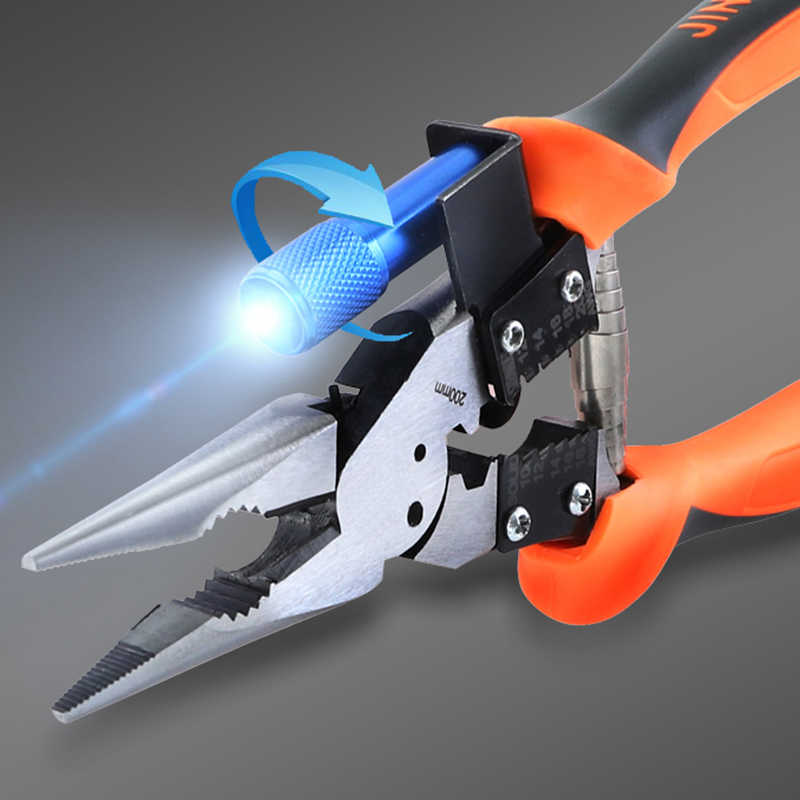 "Wire Stripper 9""/230mm Long Nose Pliers CR-V Wire Cutter Multitul With LED Electrician Cutting Crimping Hand Tool"