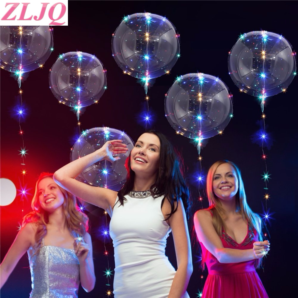 Zljq 18 24inches Balloons Led Lights Bobo Bubble Balloon