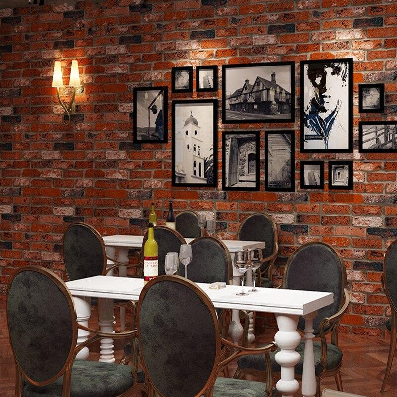 Style rétro Imitation brique 3D papier peint rouleau en relief lavable mur paer pour salon toile de fond décor à la maison