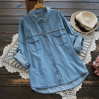 Autumn Pearl Beading Denim Blouses Casual Turn Down Collar Rolled Up Long Sleeve Jeans Top For