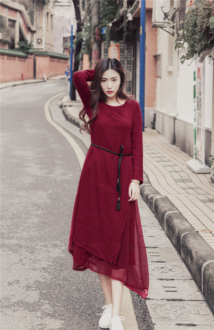2016 new arrival spring flower girl red long prom dresses O-neck revivalism women long loose dresses