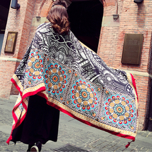 Travel Beach Towels 2019 Big Size Geometry Totem Ethnic Style Scarf Women Sun Shade Retro Cotton Tapestry Pashmina Yoga 180x100c