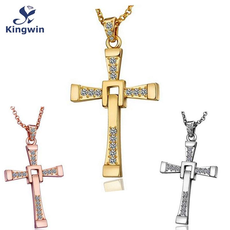 Film star Fine 18k gold plated fast and furious dominic toretto cross pendant necklace cz diamond Christian religious jewelry
