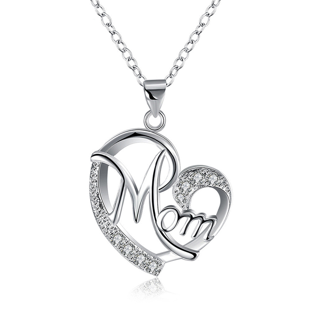 Silver Plated Mom Heart Pendant Necklace