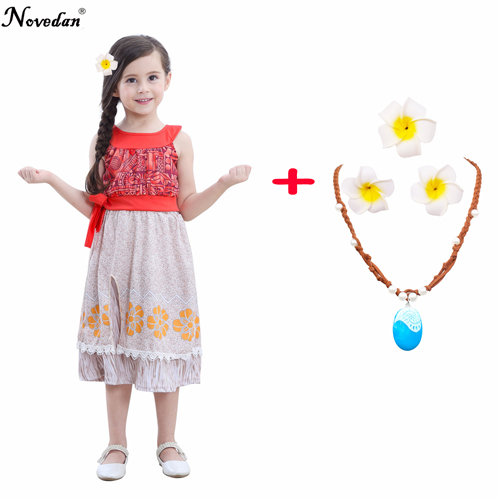 Fantasia Vaiana Moana Birthday Party Costume Kids Baby Girls Summer Floral Dress With Beautiful Princess Hair Flowers Necklace