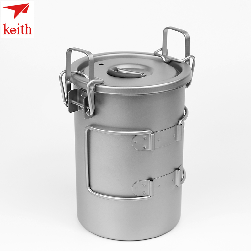 Keith Titanium Cutlery Portable Sauce Pot 900ml Camping Hiking Picnic Cooking Cookware Set Rice Cooker Ti6300 Drop Shipping keith multipurpose titanium pot lightweight pot set camping hiking nonstick rice cooker cooking pot outdoor cookware ti6300
