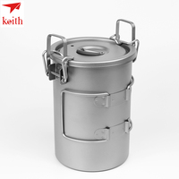 Keith Titanium Cutlery Portable Sauce Pot 900ml Camping Hiking Picnic Cooking Cookware Set Rice Cooker Ti6300 Drop Shipping