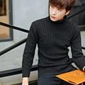 2016 homens downneck outono inverno dos homens cor da moda camisola de gola alta fino venda quente