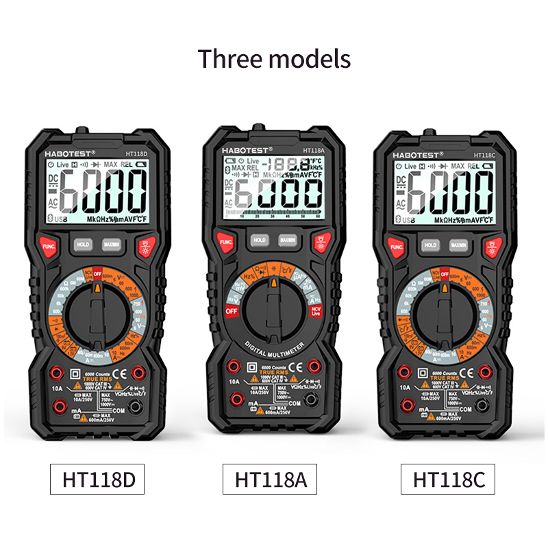 HABOTEST HT118A/C/D Digital multimeter Auto range NCV Ture RMS AC/DC 6000 counts Two color screen Voltage Indicator light tester