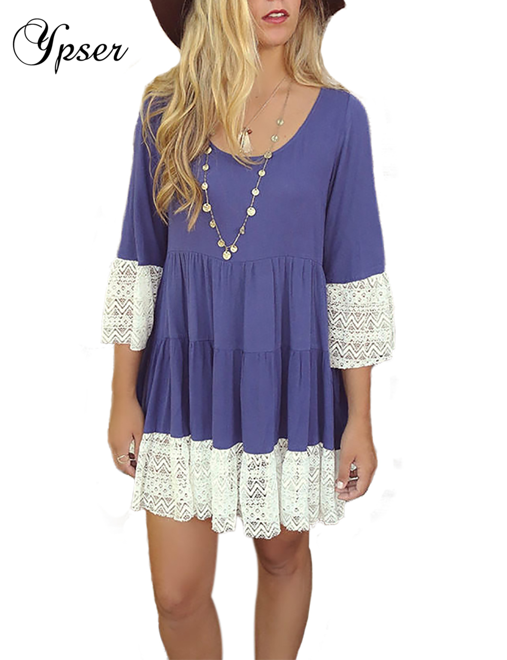 Ypser Womens Long Sleeve Tunic Tops Round Neck A Line Flowy Blouse