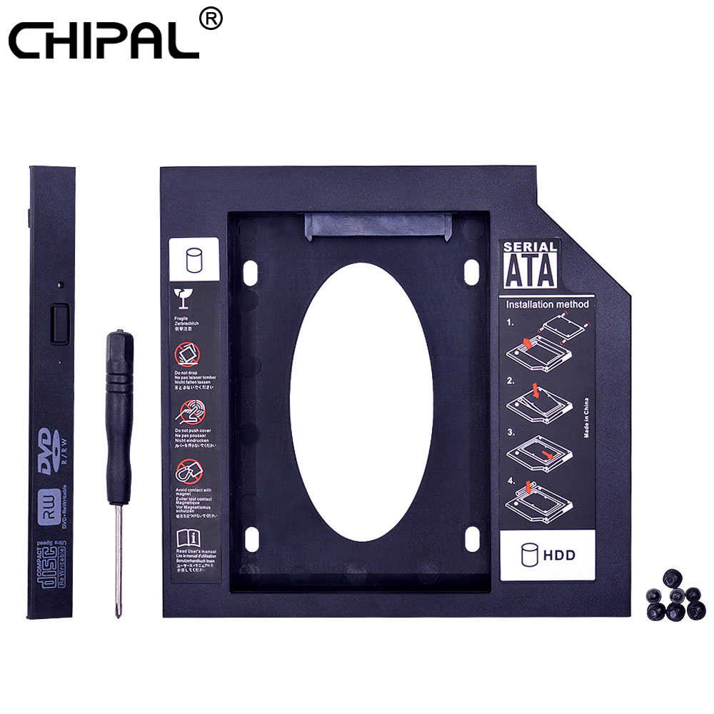 CHIPAL Universal Plastic 2nd HDD Caddy 12.7mm SATA 3.0 for 2.5'' SSD Case Hard Disk Enclosure for Laptop CD ROM DVD ROM Optibay|hdd caddy 12.7mm|2nd hdd caddy|caddy 12.7mm - title=
