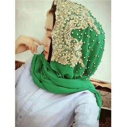 الجديدة 2018 الراقية جمع الديكور مسلم النساء الحجاب الدانتيل الشيفون طويلة وشاح رئيس التفاف حلال للمرأة # CJ899