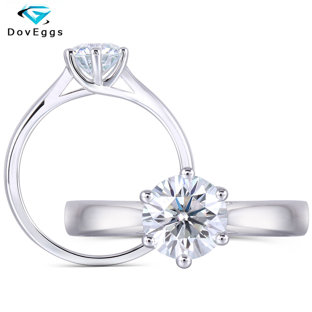 DovEggs Sterling Solid 925 Silver Center 1ct carat 6.5mm Slight Blue Moissanite Diamond Engagement Ring for Women Wedding Rings