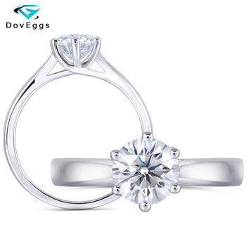 DovEggs Sterling Solid 925 Silver Center 1ct carat 6.5mm Slight Blue Moissanite Diamond Engagement Ring for Women Wedding Rings