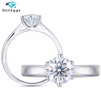 DovEggs Sterling Solid 925 Silver Center 1ct carat 6.5mm Slight Blue Moissanite Diamond Engagement Ring for Women Wedding Rings - DISCOUNT ITEM  6% OFF All Category