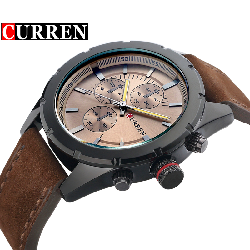 Curren Military Watches Men Brand Luxury Leather Quartz Watch Men Casual Sport Clock Waterproof Men Wristwatch Relogio Masculino liebig luxury brand sport men watch quartz fashion casual wristwatch military army leather band watches relogio masculino 1016
