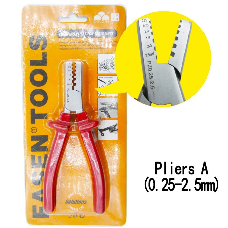 PZ 0 25 2 5 1 5 6 crimping pliers electric tube terminals box mini brand clamp tools in Pliers from Tools