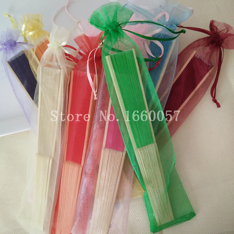 200pcs Wedding Favor Gift Silk Wedding Hand Fans Bamboo Ribs cloth Fan Best Gift for Guest