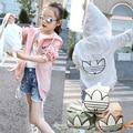 2016 Primavera Verão Menina Fina Jaqueta Casual Crianças Roupas Sun-proteção coreano Moda Casaco Uv Pode Ser Usado Como Saco 6-14 ano