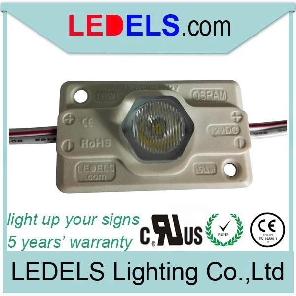 cul maza LED gaismas 1,6watt zīmei Nichia LED moduļiem 5 gadu garantija CE & RoHS prasībām