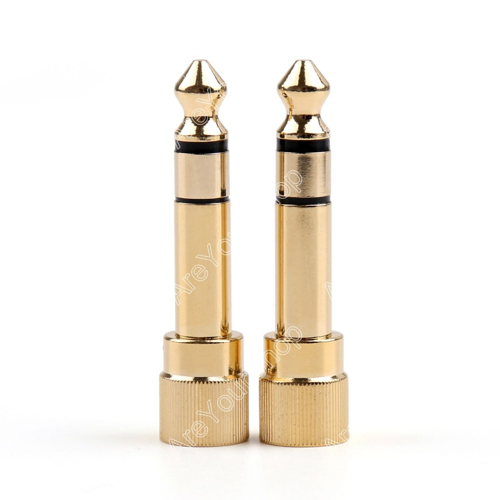 Areyourshop Sale 2 Pcs Adapter Brass Gold 1/4 6.35mm To 3.5mm Plug Stereo Audio Headphone Screw mi areyourshop sale 2pcs gold plated stereo 3 5mm 3 pole repair headphone jack plug cable audio adapter