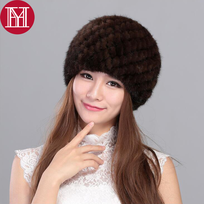 New Lovely Real Mink Fur Hat For Women Winter Knitted Mink Fur Beanies Cap Thick Cap lingerie top