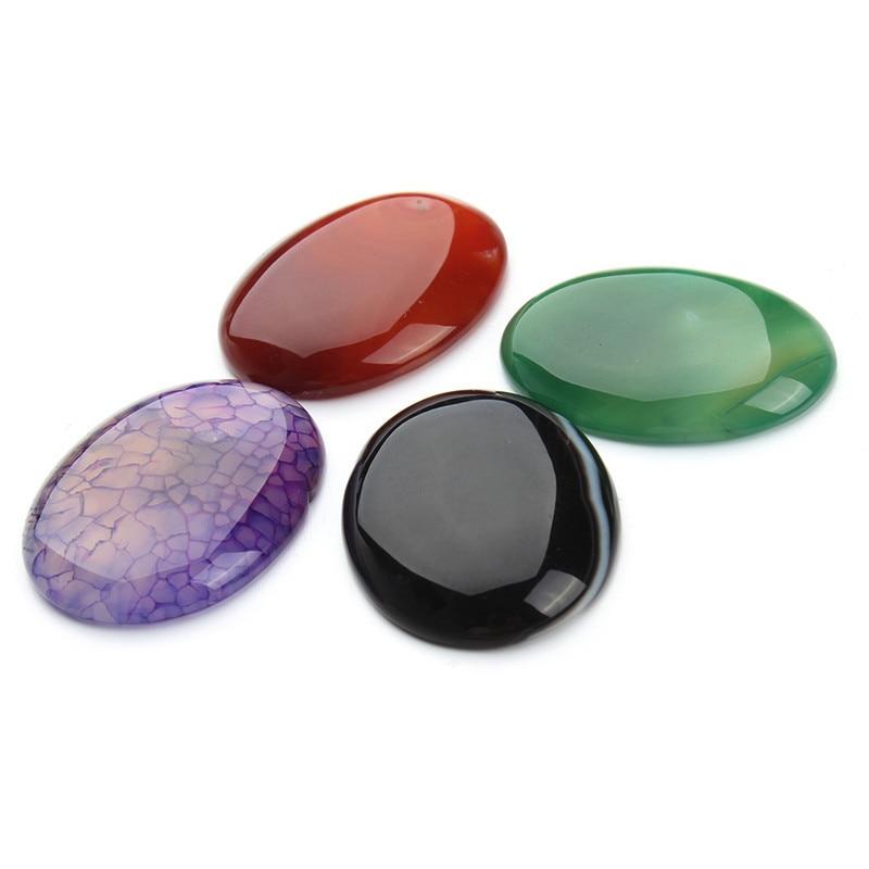 2pcs/lot 30*40mm Natural Stone Cabochon Cab DIY Cabochon Necklace Bead Purple Purple Crystal Quartz Tiger Eye Stone Beads