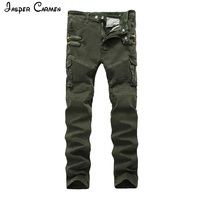 Men S Elastic Locomotive Light Army Green Cowboy Casual Pants Slim Europe And The United States
