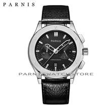 Casual Fashion Men Watch Parnis 41mm Mens Qaurtz Wrist Watch Chronograph Black Leather Auto Date Men's Quartz Military Watches