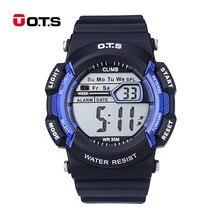 OTS 4 варианта 7 цветов светодиодный Изменение Дисплей часы Для детей цифровые часы Спорт световой Водонепроницаемый Наручные часы 47