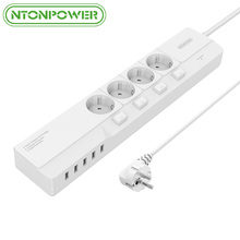 NTONPOWER NSJ USB Power Socket Extension Cord Surge Protection 4 AC Euro Plug Outlet Individual Switch