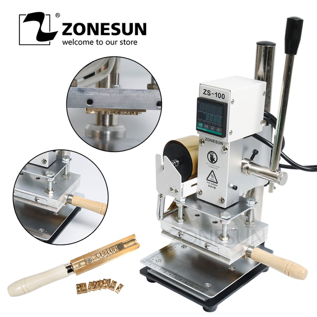 ZONESUN ZS-100 New Embossing Manual Leather Paper Wood Machine With Measure Line Letters Hot Foil Stamping Machine