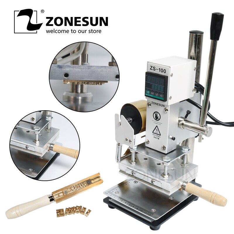 ZONESUN ZS-100 Nouveau Gaufrage Manuel En Cuir Papier Bois Machine Avec la Ligne de Mesure Lettres Dorure à Chaud Machine