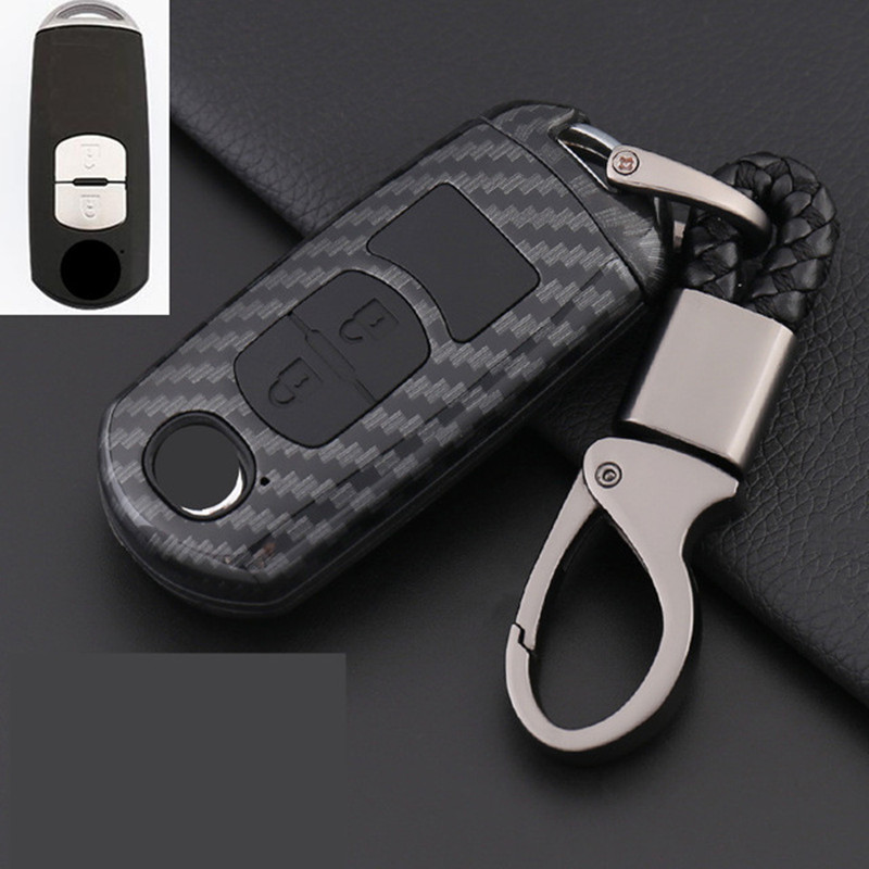 Carbon Fiber Shell Car Remote Key Case Cover For Mazda 2 3 6 Axela Atenza CX 5 CX5 CX 7 CX 9 2015 2016 2017 Smart 2 3 Buttons in Key Case for Car from Automobiles Motorcycles
