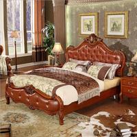 Современная Европейская кровать из цельного дерева  модная резная кожаная французская мебель для спальни o10235