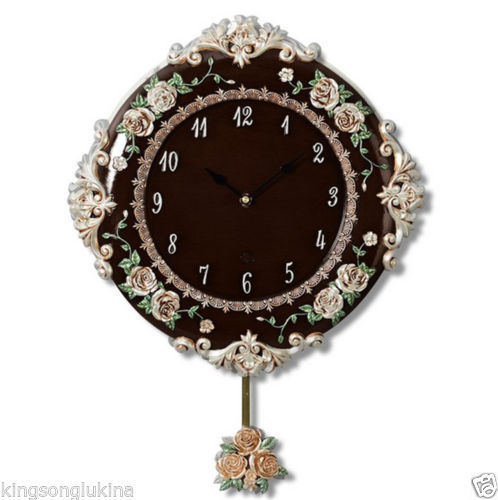 Novelty Roman 3-dimension Embossing Classic Rose Swing Mute Home Decor Wall Clock