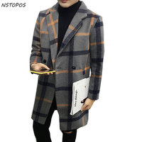 Plaid Misto Lana Giacca Spessa Trench Slim Fit Vintage Britishe inverno Jacet Giallo Spunta Rosso Più 5xl K Lungo Trench