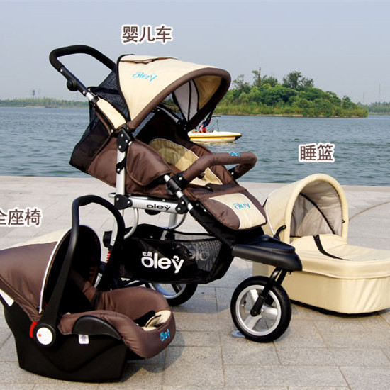 Luxury Baby Trolley 3 In 1 Include Car Seat And Bassinet RedPurpleBeige