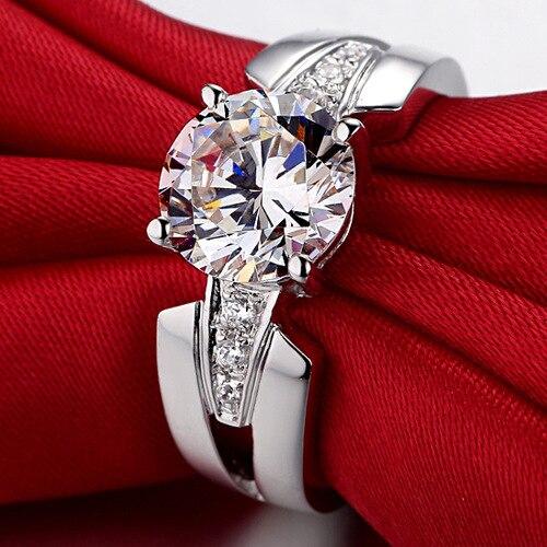 Argent pur 1.5 Carat argent haut carbone bras large mariage S925 bagues de mode bijoux pour femmes (JSA) - 3