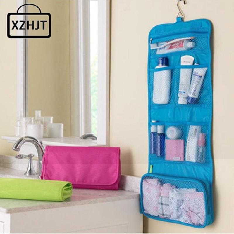 Portable Hanging Travel Cosmetic Bag Women Foldable Functional Makeup Case Organizer Storage Make Up Bag Toiletry Kit Wash Bags