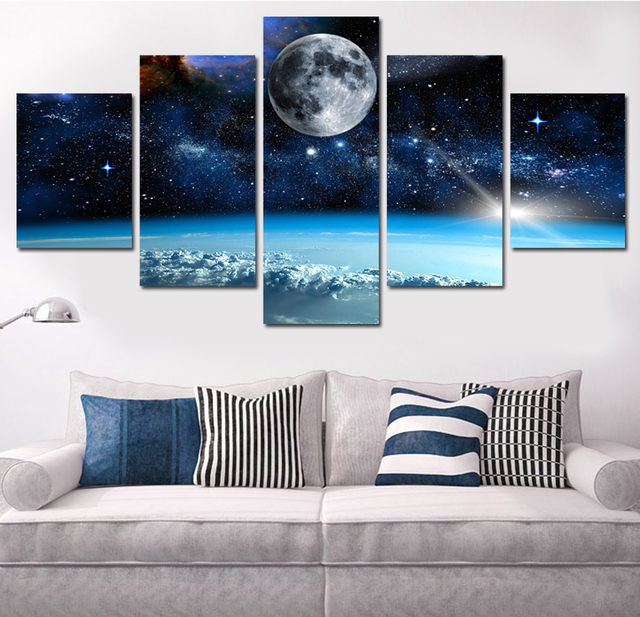 5 Panel Modern Printed Space Universe Landscape Paintings Canvas Picture  Cuadros Earth Painting For Living Room
