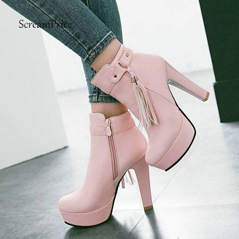 Frauen Plattform Stiefel Fashion Fringe Stiefeletten Platz High Heels Zipper Herbst Winter Damen Schuhe Plus Größe 43 2018 Neue