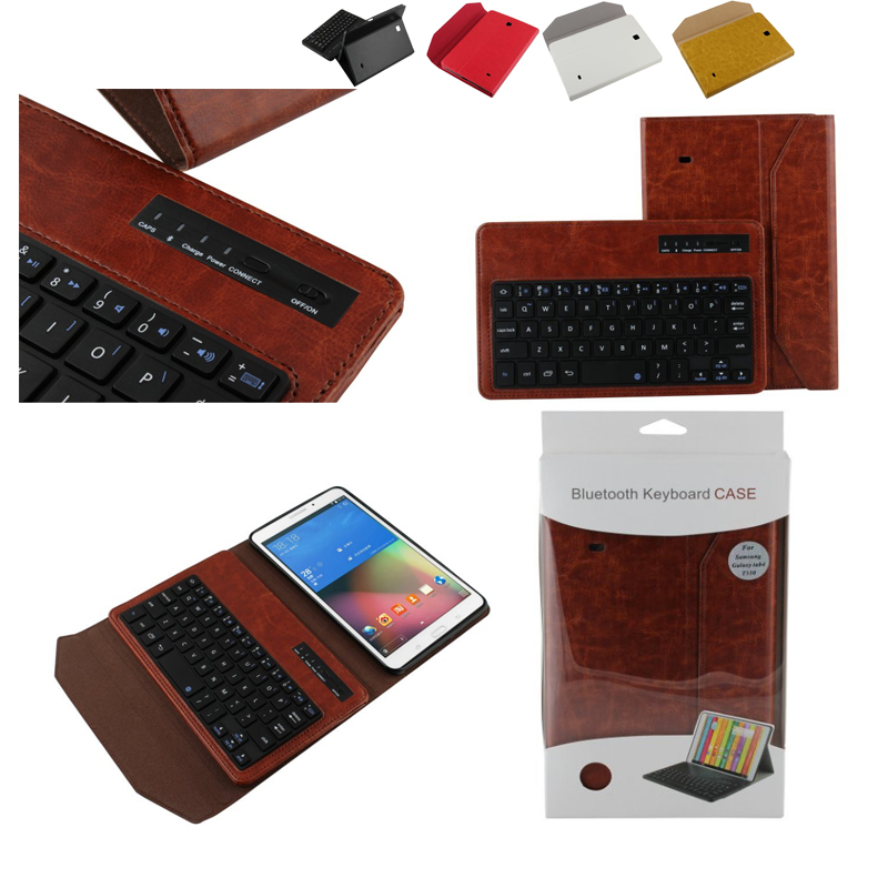 Universal Folio PU Leather Bluetooth Removable Keyboard Case Cover Retail For Samsung Galaxy Tab 4 8.0 inch T330 8 Tablet PC crocodile pattern luxury pu leather case for samsung galaxy tab 4 8 0 t330 flip stand cover for samsung tab 4 8 0 t330 sm t330