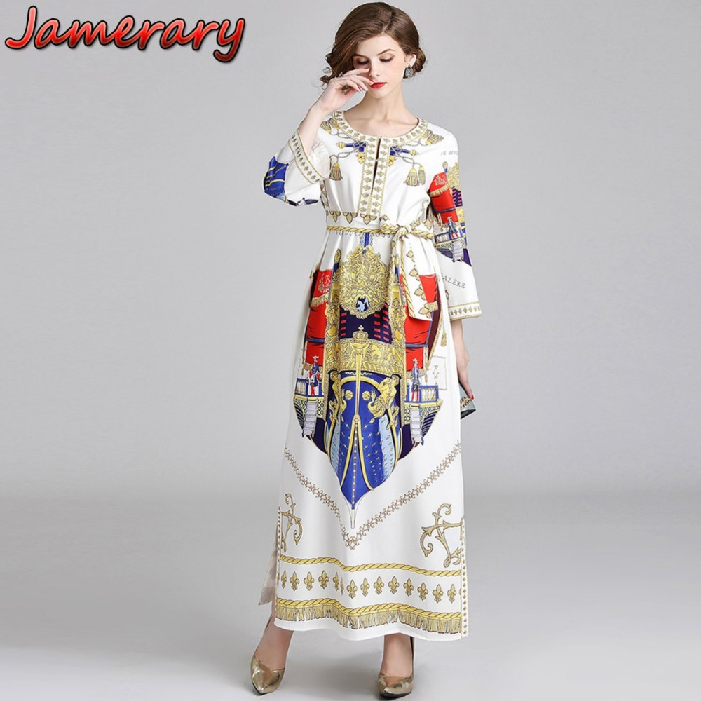 Women Runway Dress Designer 2018 Summer Autumn Shirt Dresses Casual Lace Up Abstract Fringe Print Angel Long Sleeve Maxi Dress